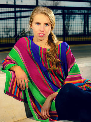 Photo - Lana wears a Ralph Lauren multistripe poncho from Dillard's, Penn Square Mall. Photo by Chris Landsberger, The Oklahoman <strong>CHRIS LANDSBERGER</strong>