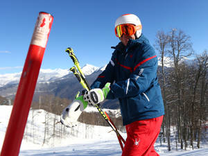 Photo - Marco Sullivan of the United States trains at the Alpine ski course ahead of the Sochi 2014 Winter Olympics, Wednesday, Feb. 5, 2014, in Krasnaya Polyana, Russia. (AP Photo/Alessandro Trovati)