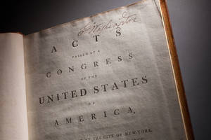 Photo -   This undated handout photo provided by George Washington's Mount Vernon Estate & Gardens, shows George Washington's annotated copy of the Constitution and Bill of Rights. (AP Photo/Mount Vernon Ladies Association, Mark Finkenstaedt)