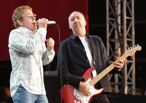 "photo - Roger Daltrey and Pete Townshend of the Who are shown during their performance at the 2006 Hyde Park Music Festival, in London. Daltrey and Townshend are taking ""Quadrophenia"" and other Who classics on the road for a U.S. tour this fall, but first plan what Daltrey calls a great finale for the Olympic Games in London.  AP File Photo"