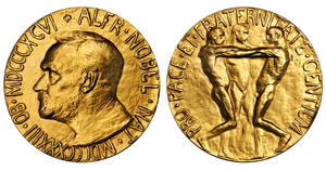 Photo - This undated photo provided by Stack's Bowers Galleries shows both sides of a Nobel Peace Prize that was saved from possible destruction for the value of its gold. The 1936 medal is only the second Nobel Peace Prize to come to auction and marked the first time an individual from Latin America was recognized by the prestigious award. The 23-karat relic is being offered for sale in Baltimore on March 27, 2014, by the New York-based Stack's Bowers Galleries. (AP Photo/Stack's Bowers Galleries)