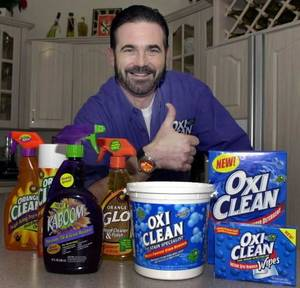 In this Dec. 6, 2002 file photo,TV pitchman  Billy  Mays poses with some of his cleaning products at his Palm Harbor, Fla., home. Tampa police say  Mays, the television pitchman known for his boisterous hawking of products such as Orange Glo and OxiClean, has died. He was 50. (AP Photo/Chris O'Meara, File)