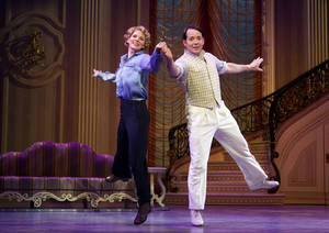 "Photo -   In this publicity photo provided by Boneau/Bryan-Brown, Kelli O'Hara, left, and Matthew Broderick perform in the new musical comedy ""Nice Work If You Can Get It"" at Broadway's Imperial Theatre in New York. The production will launch a national tour in the fall of 2013. (AP Photo/Boneau/Bryan-Brown, Joan Marcus)"