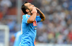 Photo - Napoli Macedonian striker Goran Pandev celebrates after scoring during a Serie A soccer match between Genoa and Napoli, at Genoa's Luigi Ferraris Stadium, Italy, Saturday, Sept. 28, 2013. (AP Photo/Tano Pecoraro)