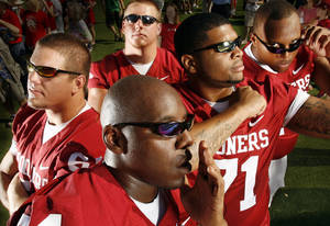 photo - Members of the Oklahoma offensive line, front, from left, Brian Simmons, Trent Williams, Cory Brandon; back, Ben Habern and Stephen Good. While inexperienced, offensive coordinator Kevin Wilson has high expectations for the group this season. PHOTO BY STEVE SISNEY, THE OKLAHOMAN