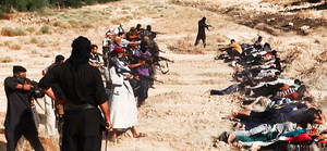 Photo - FILE - This file image posted on a militant website on Saturday, June 14, 2014, which has been verified and is consistent with other AP reporting, appears to show militants from the al-Qaida-inspired Islamic State of Iraq and the Levant (ISIL) taking aim at captured Iraqi soldiers wearing plain clothes after taking over a base in Tikrit, Iraq. Human Rights Watch released a report Friday, June 27, 2014 that based on analysis of the photos and satellite imagery, the militants killed between 160 to 190 men in two locations in Tikrit between June 11 and June 14.(AP Photo via militant website, File)