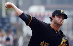 Photo - Pittsburgh Pirates starting pitcher Gerrit Cole throws against the San Diego Padres in the first inning of a baseball game Thursday, Sept. 19, 2013, in Pittsburgh. (AP Photo/Keith Srakocic)