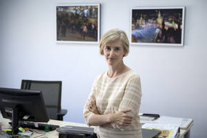 Photo - Caro Kriel, currently The Associated Press' news director for Russia and the Commonwealth of Independent States, poses for a photo in her office in the AP Bureau in Moscow, Tuesday, May 27, 2014. Kriel has been appointed as Europe news director for the news cooperative. She will be based in London and oversee 250 AP journalists in text, photos and video for a region stretching from the western shores of the British Isles to the Russian far east and from Iceland in the north to southern Portugal. (AP Photo/Pavel Golovkin)
