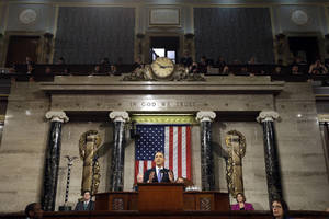 Photo - FILE - In this Feb. 12, 2013, file photo, President Barack Obama gives his State of the Union address during a joint session of Congress on Capitol Hill in Washington. Struggling to generate second-term momentum, Obama will confront a politically divided Congress with a demand to expand economic opportunity in America, asserting in his State of the Union address Tuesday that he will take action on his own if lawmakers fail to help shrink the income gap between the rich and the poor.  (AP Photo/Charles Dharapak, Pool, File)