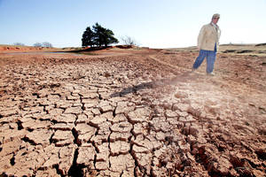 Photo - Logan County rancher John Pfeiffer walks last November on a cattle path across the bottom of one of his dry ponds. Officials say drought conditions have begun to return to parts of Oklahoma due to hot temperatures and the lack of any recent moisture. Photo By David McDaniel, The Oklahoman Archives