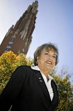 Photo -  Brenda  McDaniel, wife of Oklahoma City University president Tom  McDaniel, poses for a photo on the OCU campus on Tuesday, Oct. 28, 2008, in Oklahoma City, Okla. BY CHRIS LANDSBERGER