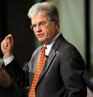 Photo - U.S. Sen. Tom Coburn, R-Muskogee, speaks during a town hall meeting at Oklahoma City Community College in Oklahoma City, Thursday, Aug. 18, 2011. Photo by Nate Billings, The Oklahoman