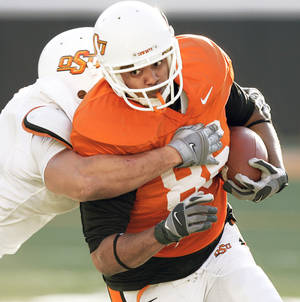 Photo - OSU tight end Wilson Youman is known more for his blocking. Photo by Nate Billings, The Oklahoman