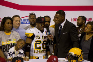 Photo - Heritage Hall standout Barry J. Sanders announces his commitment to Stanford. PHOTO COURTESY U.S. ARMY