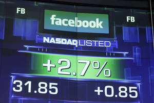 Photo -   The pre-market price for Facebook stock is shown, Wednesday, May 23, 2012 at the Nasdaq MarketSite in New York. Facebook stock rose in early trading Wednesday, although still far below the $38 it was priced at before its initial public offering Friday. (AP Photo/Mark Lennihan)