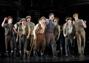"Photo -   In this theater image released by Disney Theatricals, the cast of The Paper Mill Playhouse Production of ""Newsies,"" starring Jeremy Jordan, center right, is shown in New York. The production The production is nominated for best musical at the Tony Awards, airing Sunday, June 10 on CBS. (AP Photo/Disney Theatricals, T. Charles Erickson)"