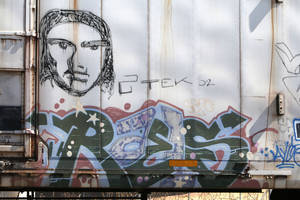 Photo -      Graffiti is seen Monday on the side of a BNSF Railway train Monday in Oklahoma City. Photo by Paul Hellstern, The Oklahoman  <strong>PAUL HELLSTERN -   </strong>
