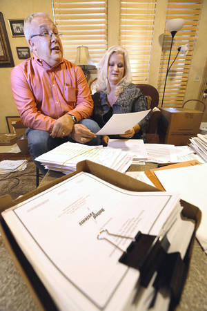 "Photo - Randy and Debbie Wright talking about their ""open records"" struggle with Yukon Public Schools on Feb. 7.   Photo By David McDaniel/The Oklahoman <strong>David McDaniel</strong>"