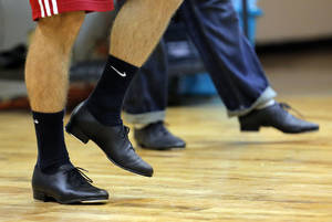 Photo - People tap dance at the Poteet Theatre in Oklahoma City.  Photo by Sarah Phipps, The Oklahoman <strong>SARAH PHIPPS - SARAH PHIPPS</strong>