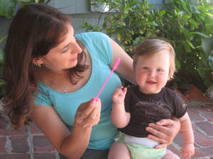 Photo - Mayim Bialik blows bubbles with her son, Fred, 3. Photo provided. <strong></strong>