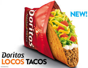 Photo - This photo provided by Taco Bell shows a new advertisement for Doritos Locos Tacos shells. PepsiCo Inc., which owns Cheetos, Fritos, Tostitos and other snacks, found enormous success in 2012 after teaming up with Taco Bell to create Dorito-flavored taco shells. And it has since been looking for other ways to create restaurant dishes featuring its popular snack  (AP Photo/Taco Bell)