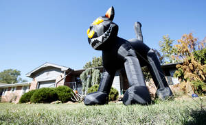 Photo - A giant, inflated black cat guards the yard for Halloween at 1207 Kansas in Norman. Photo by Steve Sisney, The Oklahoman