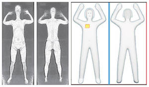 photo - FILE - These two sets of images provided by the Transportation Security Administration are samples that show details of what TSA officers see on computer monitors when passengers pass through airport body scanners. At left are two images using backscatter advanced image X-ray technology from the huge scanners that were introduced in 2010 at O'Hare International Airport in Chicago and other airports. At right are images from new scanners using new millimeter wave technology that produces a cartoon-like outline rather than naked images of passengers produced by using X-rays. Those airport scanners with their all-too revealing body images will soon be going away. The Transportation Security Administration says the X-ray scanners will be gone by June 2013 because the company that makes them can't fix the privacy issues. The other airport body scanners, which produce a generic outline instead of a naked image, are staying. (AP Photo/Transportation Security Administration, File)