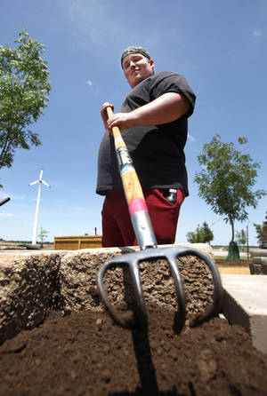 Photo - Sean Bruce spreads dirt in a raised bed in the wheelchair-accessible garden at Canadian Valley Technology Center.