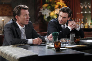"Photo - This image released by CBS shows Peter Bergman, left, and Daniel Goddard in a scene from ""The Young & The Restless."" The daytime drama series is ahead of the pack with 26 Daytime Emmy nominations, including best daytime drama. The television academy announced the nominations on Thursday, May 1, 2014. (AP Photo/CBS, Sonja Flemming)"