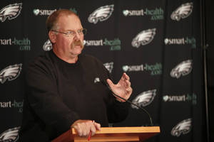 Photo -   Philadelphia Eagles head coach Andy Reid speaks during a media availability at their NFL football training facility Monday, Oct. 1, 2012 in Philadelphia. (AP Photo/ Joseph Kaczmarek)