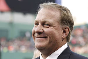 Photo - FILE - This Aug. 3, 2012 file photo shows former Boston Red Sox pitcher Curt Schilling after being introduced as a new member of the Boston Red Sox Hall of Fame at Fenway Park in Boston. Schilling announced Wednesday, Feb. 5, 2014 that he is battling cancer. (AP Photo/Winslow Townson, file)