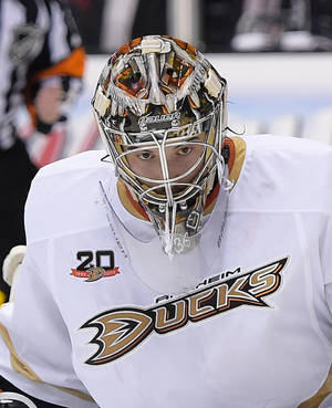 Photo - Anaheim Ducks goalie John Gibson looks on during the second period in Game 4 of an NHL hockey second-round Stanley Cup playoff series against the Los Angeles Kings, Saturday, May 10, 2014, in Los Angeles. (AP Photo/Mark J. Terrill)
