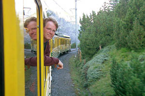 Rick Steves, shown on a train in the French Alps, will talk about developing a global perspective in travel to Europe and other places when he comes to Oklahoma next Saturday. PHOTO PROVIDED.