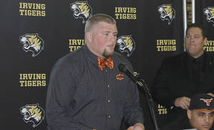 photo - Jaxon Salinas at signing day at Irving (Texas) High School. PHOTO BY GINA MIZELL, THE OKLAHOMAN