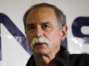 Photo -   David Wineland, an American physicist at the National Institute of Standards in Boulder, who shares the 2012 Nobel Prize in physics with Serge Haroche of France, speaks at a news conference at NIST in Boulder, Colo., on Tuesday, Oct. 9, 2012. (AP Photo/Ed Andrieski)