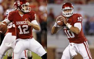 Photo - OU quarterbacks Landry Jones and Blake Bell.