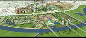 photo - An early concept for development of Core to Shore is shown in this 2008 artist's rendering. Provided by the Greater Oklahoma City Chamber