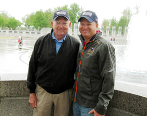Photo - Bill Pummill, left, and grandson Lowell Armstrong  at the World War II Memorial in Washington D.C. <strong>Chris Casteel - Chris Casteel, The Oklahoman</strong>