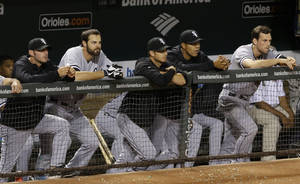 Photo - Members of the Chicago White Sox look on from the dugout in the ninth inning of a baseball game against the Baltimore Orioles, Friday, Sept. 6, 2013, in Baltimore. Baltimore won 4-0. (AP Photo/Patrick Semansky)