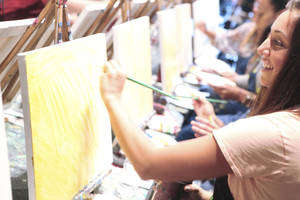 photo - Customers paint at Pinot's Palette in Houston. The franchise is opening a studio in Bricktown this spring. Photo provided. <strong>Amy Dunn - PROVIDED BY PINOT'S PALETTE</strong>