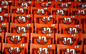 "photo - ""Remember the 10""  T-shirts sit on the seats of Gallagher-Iba Arena before the basketball game between Oklahoma State and Texas, Wednesday, Jan. 26, 2011, Stillwater, Okla. Photo by Sarah Phipps, The Oklahoman"