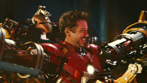 """Photo - Robert Downey Jr. is seen in Iron Man 2. Oklahoma's JayMartin is on a team of innovators working to create exoskeletal robotic suits, like the """"Iron Man"""" suit.  Photo provided by Industrial Light & Magic <strong>Photo Credit: Industrial Light and Magic - Industrial Light & Magic</strong>"""