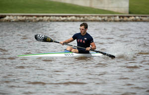 Photo - Dylan Puckett, 16, of Jones, Okla., practices in the kayak on the Oklahoma River in Oklahoma City, Tuesday, Jan. 8, 2008. Photo by Sarah Phipps, The Oklahoman.