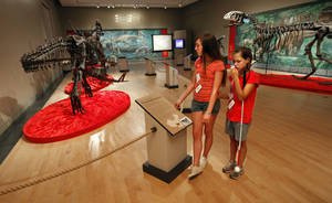 photo - Jill Finnegan, left, reads exhibit information to Shaylin Wells on Wednesday at the Sam Noble Museum of Oklahoma History.