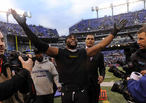 photo - Baltimore Ravens inside linebacker Ray Lewis celebrates after an NFL wild card playoff football game against the Indianapolis Colts Sunday, Jan. 6, 2013, in Baltimore. Lewis has said he will retire at the end of the season, and the Ravens won 24-9. (AP Photo/Gail Burton)