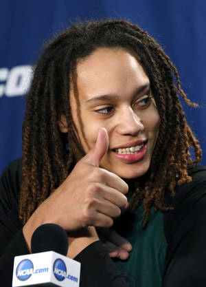 Photo - Baylor's Brittney Griner speaks during the press conference and practice day at the Oklahoma City Regional for the NCAA women's college basketball tournament at Chesapeake Energy Arena in Oklahoma City, Saturday, March 30, 2013. Photo by Sarah Phipps, The Oklahoman