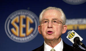 Photo - Former commissioner Roy Kramer is credited with founding the modern Southeastern Conference. But current commissioner Mike Slive expanded and exploded it. AP PHOTO