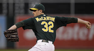 Photo -   Oakland Athletics' Brandon McCarthy works against the Boston Red Sox in the first inning of a baseball game Friday, Aug. 31, 2012, in Oakland, Calif. (AP Photo/Ben Margot)