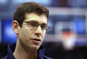 Photo - Butler coach Brad Stevens answers questions about his team in Indianapolis, Monday, March 21, 2011. Butler is scheduled to play Wisconsin on Thursday in the NCAA college basketball tournament Southeast regional in New Orleans.  (AP Photo/Michael Conroy)