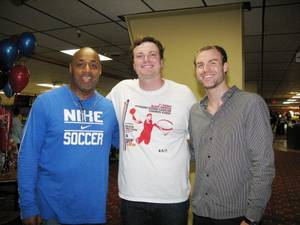 Photo - Eric Johnson, right, one of Blake Griffin's high school friends, organized the Bowling Down Cancer Charity Event, along with help from Kenny Talton and Zach Hardaway. PHOTO BY LILLIE-BETH BRINKMAN, THE OKLAHOMAN <strong></strong>